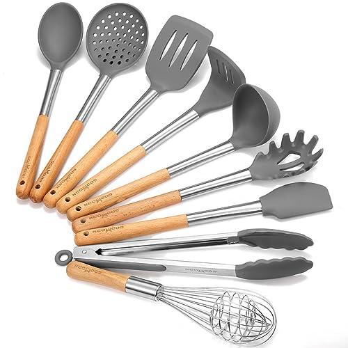 Godmorn Ustensiles de Cuisine Set, 9 pièces Outil de Cuisine Ustensile de Cuisine - Silicone & Acier Inoxydable et Poignées en Bois Ensemble d'Accessoires Culinaire pour la Cuisine
