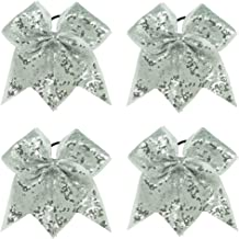 CN Sequin Cheerleader Bow Big School Color Hair Bow With Elastic Tie For Cheerleading Girls