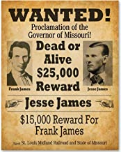 Jesse James Wanted Poster - 11x14 Unframed Print - Makes a Great Gift Under $15 for Westerns Fans