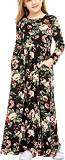 Arshiner Girl's Long Sleeve Floral Print Loose Casual Holiday Long Maxi Dress with Pockets