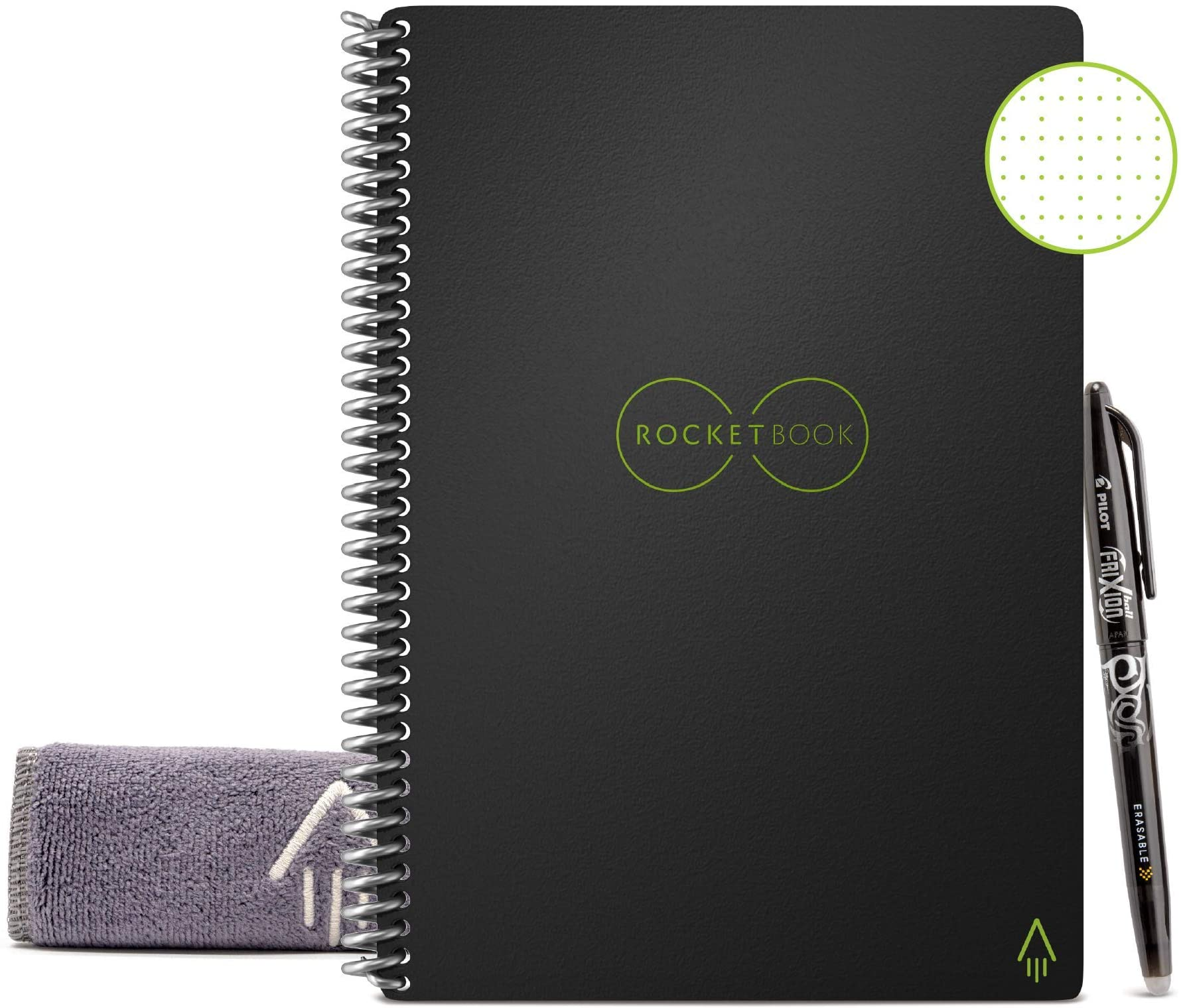 "Rocketbook Smart Reusable Notebook - Dot-Grid Eco-Friendly Notebook with 1 Pilot Frixion Pen & 1 Microfiber Cloth Included - Infinity Black Cover, Letter Size (8.5"" x 11"")"