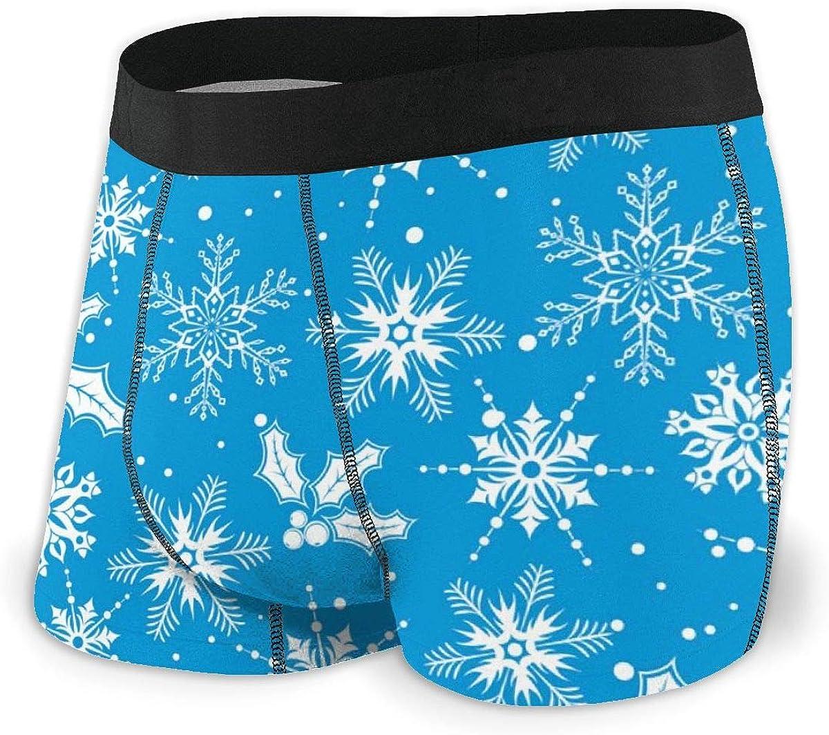 Mens Boxer Briefs Snowflake Winter Blue Breathable Underwear