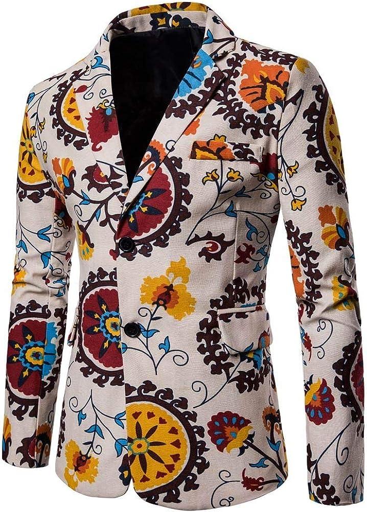 MODOQO Men's Suits Print Slim Fit Dashiki Cardigan Suit Blazer for Party Prom