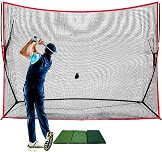 Sport Nets Heavy Duty Golf Net and Mat. Perfect Golf Hitting mat and Golf Driving Range net Combo. You can This net mat Combo to Practice Indoor or Outdoors.
