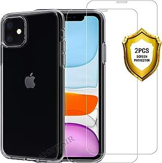 ANEWSIR Schutzfolie + Hülle für iPhone 11, [2 Schutzfolie + 1 Hülle] HD Displayschutzfolie 9H Härte Schutzfolie Folie Panzerfolie, Transparent Silikon TPU Soft Premium Case Cover Schutzhülle.