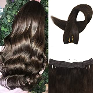 Easyouth 14inch Crown Human Extensions Pure Real Remy Hair Color 2 Dark Brown 70g per Pack One Piece Hair No Clips No Tapes Hair Extensions with Invisible Fishing Line
