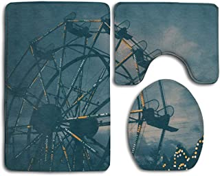 LYIR Landscape Photography of Carousel Toilet Carpet,Fashion Bathroom Rug Mats Set 3 Piece Anti-Skid Pads Bath Mat + Contour + Toilet Lid Cover