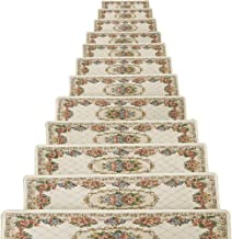TINTON LIFE Set of 13 Non-Slip Washable Stair Treads Carpet with Skid Resistant Rubber Backing Indoor Wooden Step Mats Sel...