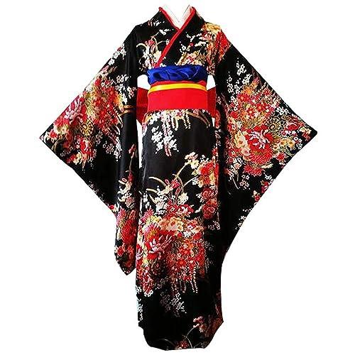 ee58eac33 Anshuo Japanese Cherry Black Kimono Anime Cosplay Costume Lolita Dress