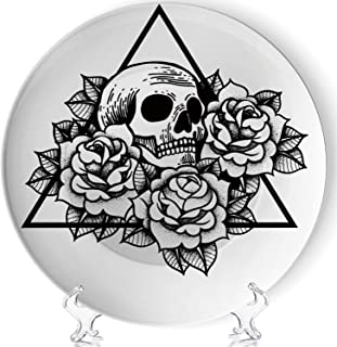 YOLIYANA Rose Skull Tattoo Sacred Geometry Frame Vector Porcelain Plates Ceramic Decorative Plates,jeffcyb6596o,7 Inch