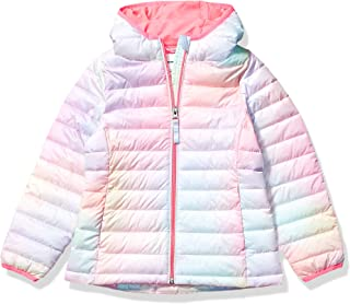 Girl's Lightweight Water-Resistant Packable Hooded Puffer...