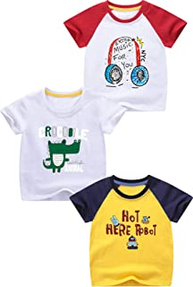Girls Boys 3 Pack Short Sleeve Assorted T-Shirt Crew Neck Top Tee Clothes
