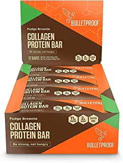 Bulletproof Bars Collagen Protein, Perfect Snack for Keto Diet, Paleo, Gluten-Free, for Men, Women, and Kids (Fudge Brownie)
