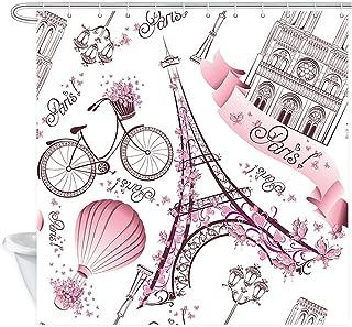 JAWO Paris Wallpaper Shower Curtain, Modern Pink Paris Eiffel Tower Notre Dame de Paris Polyester Fabric Bathroom Bath Curtain Liner Set with Hooks 69x70inches