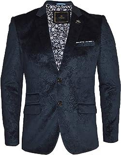 Cavani Men's Velvet Paisley Pattern Blazer Smart Formal Dinner Jacket