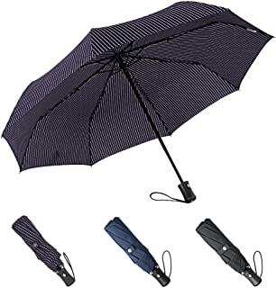 BOY Windproof Umbrella Compact, Auto Umbrella Automatic Open Close, Extra Strong Umbrella with Reinforced Windproof Frame, Fast Dry Travel Umbrella for Women and Men