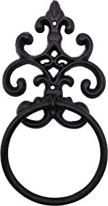 Comfy Hour Antique & Vintage Interior Decor Collection Cast Iron Solid Towel Ring, Aged Old Fashioned Black - for Hanging Towel, Wash Cloth and Etc