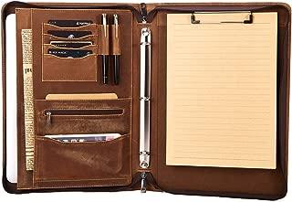 Asini Handmade Genuine Vintage Leather 3 Ring Binder Portfolio Folder with Zipper for Men and Women,Business Portfolio Organizer Binder with Clipboard for Letter Size Notebook,Brown