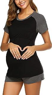 Ekouaer Women Maternity Carpi Pants/Shorts Pajamas Set Short Raglan Sleeve Baseball Nursing Breastfeeding Sleepwear