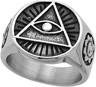 Sabrina Silver Stainless Steel Illuminati All Seeing Eye of Providence Ring for Men Round 11/16 inch wide size 9-13