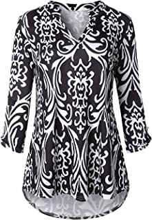 Cucuchy Womens 3/4 Sleeve Casual Shirts Notch V Neck Loose Fall Tunic Blouse Top