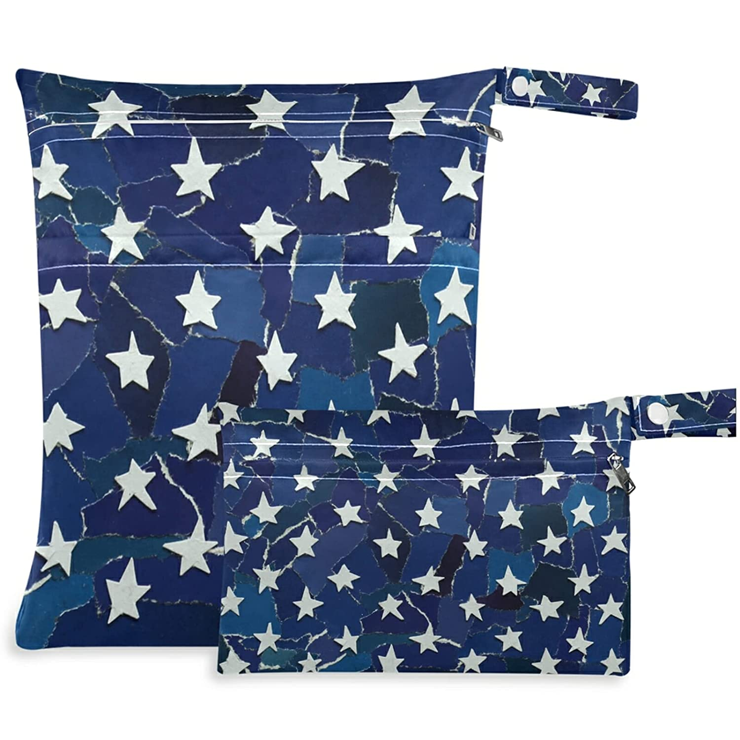 visesunny Abstract American Star All stores are sold 2Pcs Bag Deluxe Zippered Wet with Pock