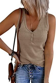 Womens V Neck Tank Tops Summer Ribbed Sleeveless Henley Shirts Casual Loose Button Up Cami Knit Tees