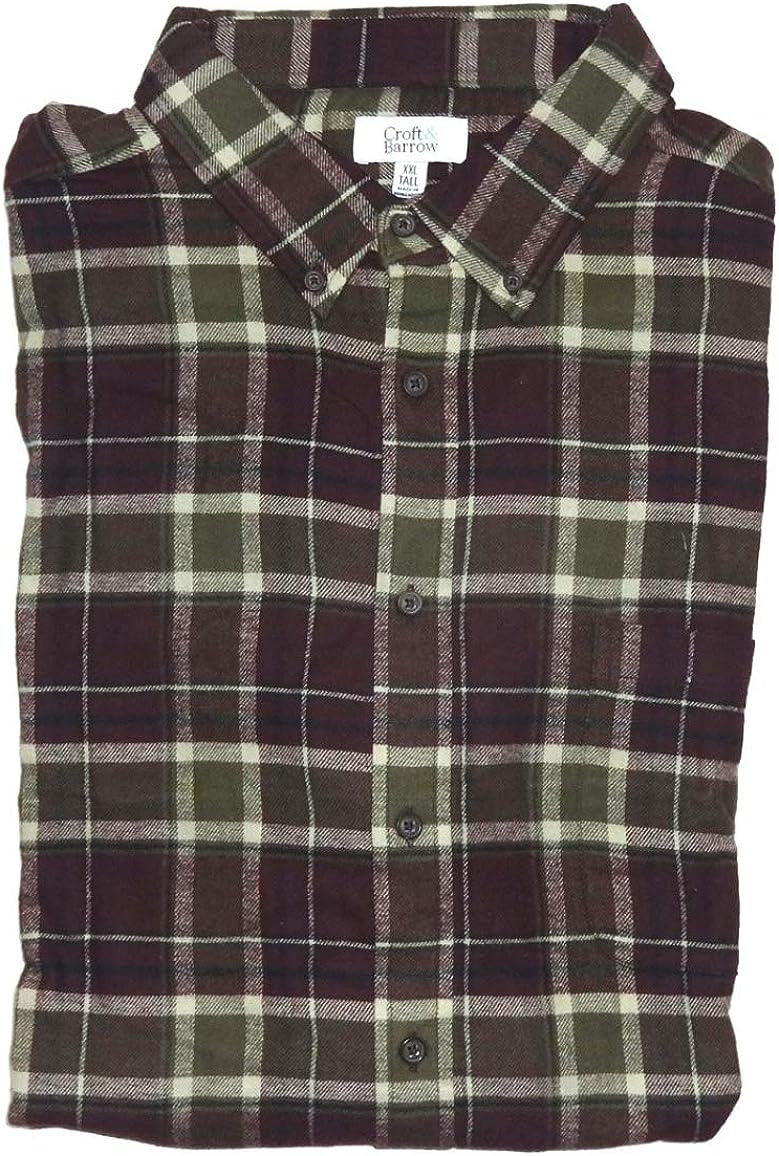 Men's Classic Fit Flannel Dark Burgundy Plaid Buttoned Down Essential Shirt