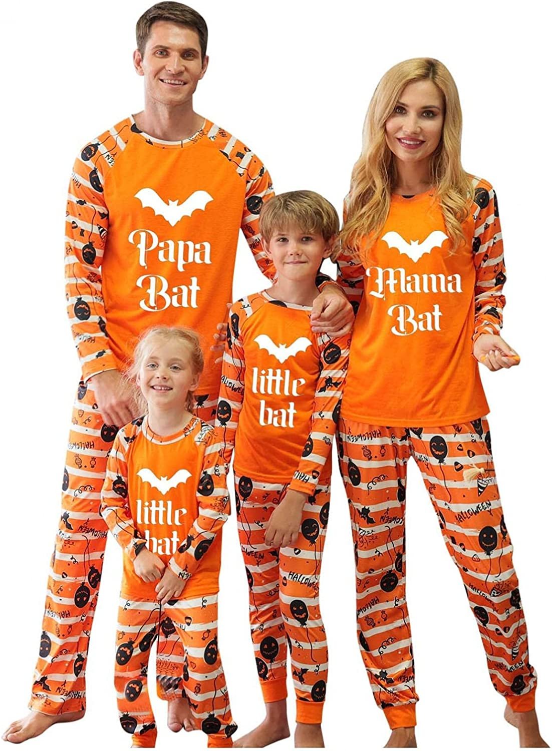 SUIQU Halloween Pajamas Letter Print Top and Plaid Pants Cotton Xmas Clothes Mum and Dad Sleepwear Sets with Kids