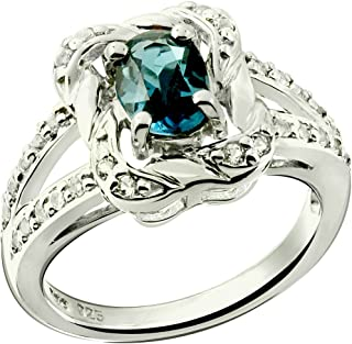 RB Gems Sterling Silver 925 Ring Genuine Gemstone Oval 7x5 mm with Rhodium-Plated Finish, Rope Texture