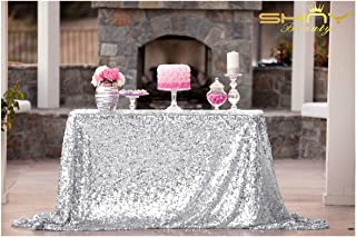 ShiDianYi 50''x72''Silver Sequin Tablecloth, Wedding Table Cloth, Sparkle Sequin Linens, Glitz, Sequin Cake Tablecloth, Sequin Tablecloth (50''x72'')