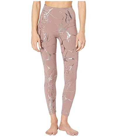 Beyond Yoga Lost Your Marbles High-Waist Midi Leggings (Dusty Mauve/Shiny Gunmetal Marble) Women