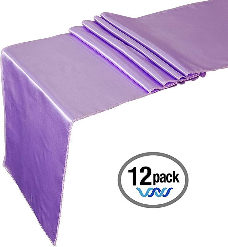 Wavewater Lavender Satin Table Runners 12 Pack 12 X 108 Inch Long Elegant Decorative Party Decor Wedding Banquet Graduation Business Events Fits Rectangular Round Surfaces