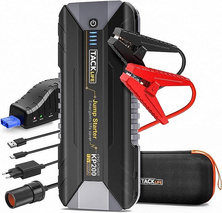 Starter auto - tacklife 2000a avviatore di emergenza per auto , booster batteria per auto 12v KP200