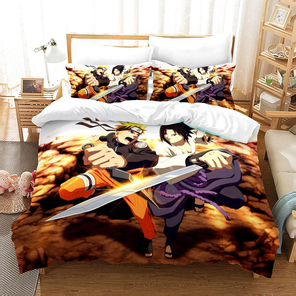 All Max 80% OFF items free shipping 3pcs Naruto Bedding Set Anime Cover Comforter Duvet fo