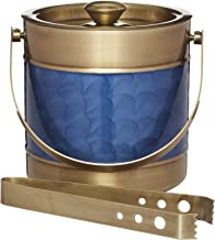 BarCraft Midnight Luxe Ice Bucket with Lid and Tongs, Stainless Steel, Blue and Brass