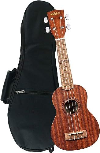 Kala KA-15S Mahogany Soprano Ukulele with FREE Deluxe Stronghold brand soprano uke soft case gig bag