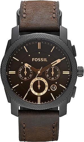 FOSSIL - Chronographe de Taille Moyenne en Cuir Marron avec Fonction chronomètre et minuterie en Acier Inoxydable - F...
