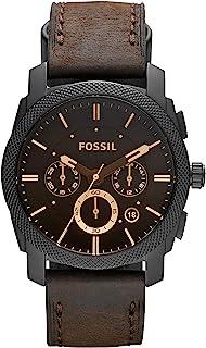 FOSSIL - Chronographe de Taille Moyenne en Cuir Marron avec Fonction chronomètre et minuterie en Acier Inoxydable - FS4656