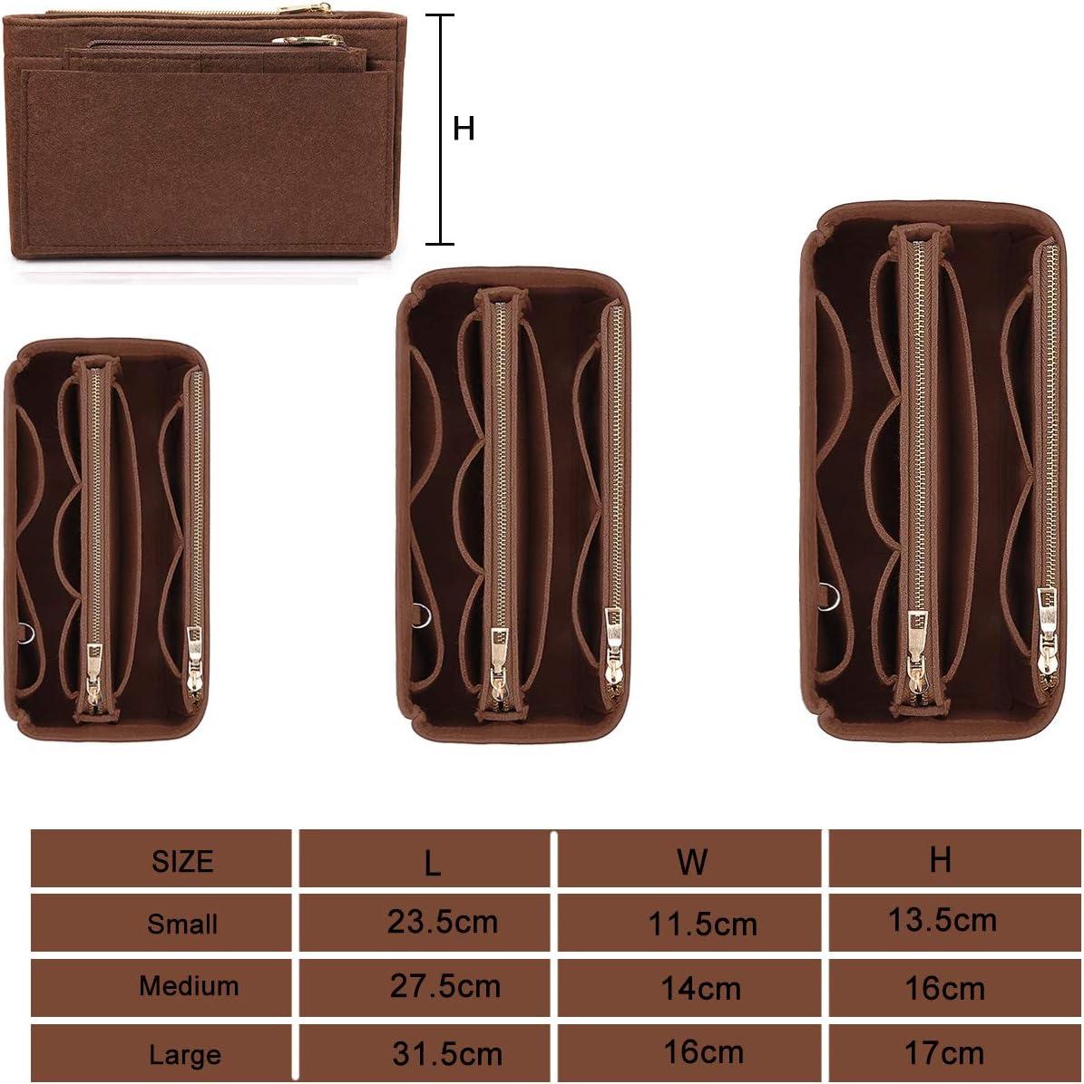 Handtaschen Organizer mit Rei/ßVerschluss HyFanStr Taschenorganizer Filz mit Kreditkartenetui Innentaschen f/ür Handtaschen Schwarz Gro/ß