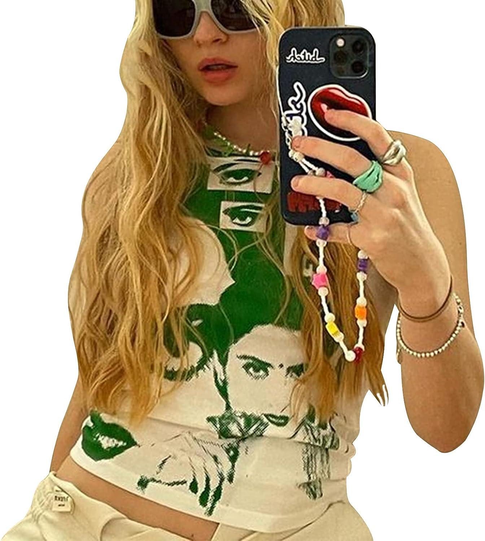 Womens Sexy y2k E-Girls 90s Sleeveless Face Portrait Print Crop Top Tie Dye Vest Tank Top Graphic Print Top Summer