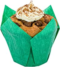 Panificio Premium 4 oz Green Paper Tulip Baking Cup: Paper Baking Cups Perfect for Muffins, Cupcakes or Mini Snacks - Greaseproof - Disposable and Recyclable - 200ct Box - Restaurantware