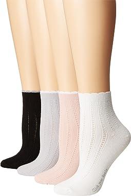 Scalloped Tipped Socks 4-Pack