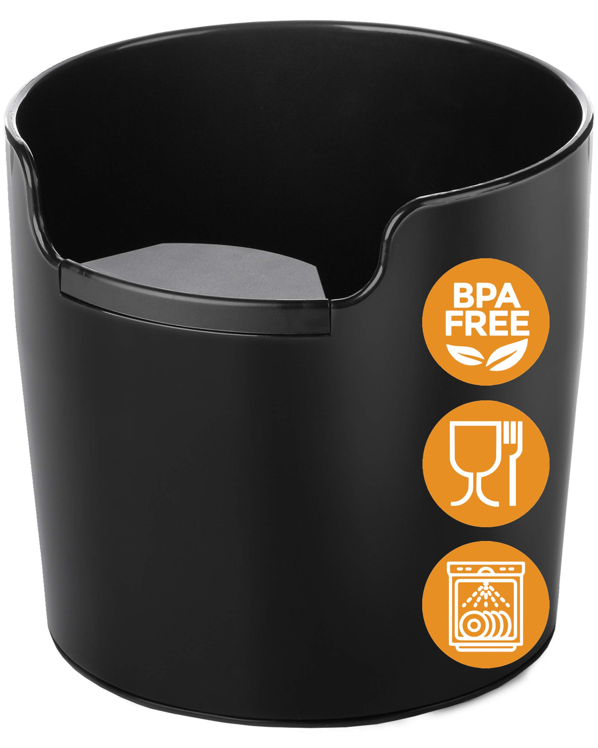 NEW: Homeffect Knock Box with Improved Handling - Innovative Barista Tool -Black - Professional Coffee and Espresso Accessories for Home
