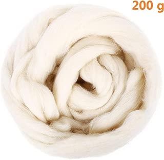 Natural Wool Roving 200g / 7oz Fiber Roving Wool Top For Needle Felting DIY Hand Spinning Wool Felt Crafts by SOLEDI (Milk White)