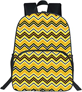 Oobon Kids Toddler School Waterproof 3D Cartoon Backpack, Horizontal Zigzag Stripes in Vibrant Colors Modern Graphic Artful Decorative, Fits 14 Inch Laptop