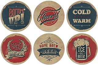 CARIBOU Coasters Vintage Paper Beer Design Absorbent Neoprene Coasters for Drinks, 6pcs Set