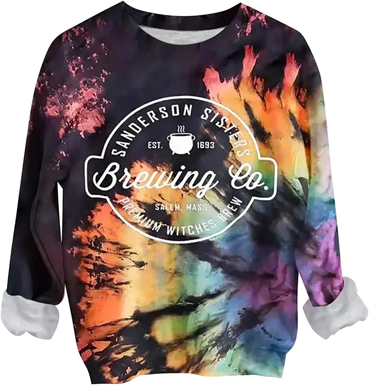 Womens Halloween Sweatshirt Fall Clothes for Girls Long Sleeve Tie Dye Rainbow Pullover Casual Crewneck Loose Tops