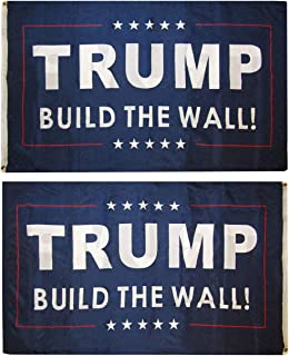 American Wholesale Superstore 3x5 Trump Build The Wall! Blue Double Sided 2 Ply 3'x5' Premium Quality Heavy Duty Nylon Polyester Indoor Outdoor Flag