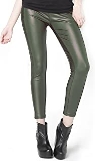 Fashion MIC Colored Side Detail Faux Leather Leggings